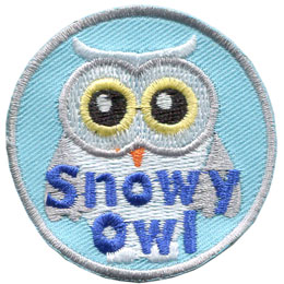 Snowy, Snow, Owl, Leader, Toadstool, Patch, Embroidered Patch, Merit Badge, Badge, Emblem, Iron On, Iron-On, Crest, Lapel Pin, Insignia, Girl Scouts, Boy Scouts, Girl Guides