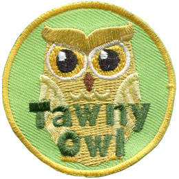 Tawny, Owl, Leader Patch, Embroidered Patch, Merit Badge, Badge, Emblem, Iron On, Iron-On, Crest, Lapel Pin, Insignia, Girl Scouts, Boy Scouts, Girl Guides