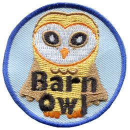 Barn, Owl, Bird, Night, Hawk, Hoot, Patch, Embroidered Patch, Merit Badge, Badge, Emblem, Iron On, Iron-On, Crest, Lapel Pin, Insignia, Girl Scouts, Boy Scouts, Girl Guides