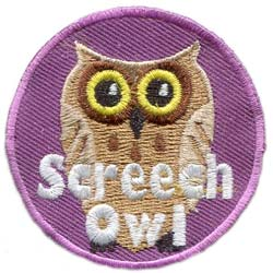 Owl, Screech, Leader, Patch, Embroidered Patch, Merit Badge, Badge, Emblem, Iron On, Iron-On, Crest, Lapel Pin, Insignia, Girl Scouts, Boy Scouts, Girl Guides