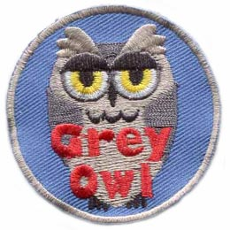 Grey, Owl, Grey Owl, Hoot, Set, Patch, Embroidered Patch, Merit Badge, Badge, Emblem, Iron On, Iron-On, Crest, Lapel Pin, Insignia, Girl Scouts, Boy Scouts, Girl Guides