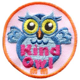 A light blue owl with big yellow eyes stands upright with its wings spread wide in welcome. The words ''Kind Owl'' are written in pink near the bottom of the patch.