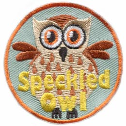 Speckled Owl, Speckled, Owl, Hoot, Set, Patch, Embroidered Patch, Merit Badge, Badge, Emblem, Iron On, Iron-On, Crest, Lapel Pin, Insignia, Girl Scouts, Boy Scouts, Girl Guides