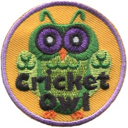 This green owl resembles a cricket with its big eyes and antenna. This patch has the words 'Cricket Owl' embroidered in black thread.