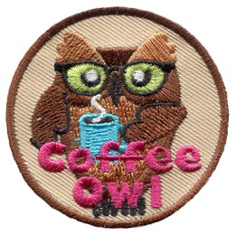 A brown, bespectacled owl holds a blue mug filled with steaming-hot coffee. The words 'Coffee Owl' are embroidered in pink thread at the bottom of the patch.