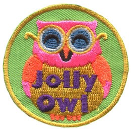 This glasses-wearing, happy owl is bright pink with a yellow belly.
