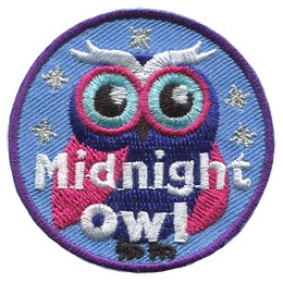 This dark purple and pink owl stands against a background of the blue night sky with golden metallic stars.
