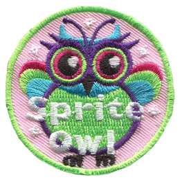 This colourful owl has the words 'Sprite Owl' at the bottom of the patch.