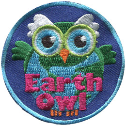 A green and blue owl stares straight ahead. The owl's round body forms a globe of Earth. The words 'Earth Owl' are embroidered in pink at the bottom of the patch.