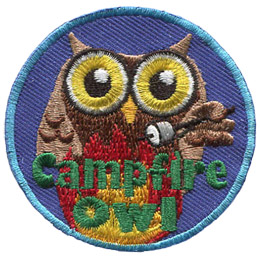 A brown owl roasts a marshmallow over a roaring campfire. The words, 'Campfire Owl' are embroidered in green over top the campfire.