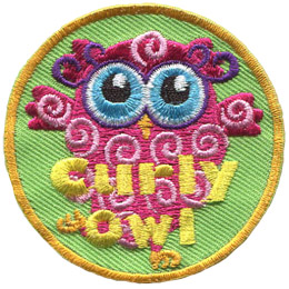 This pink owl has curls all over her body. The words 'Curly Owl' are embroidered in yellow near the bottom of the patch.