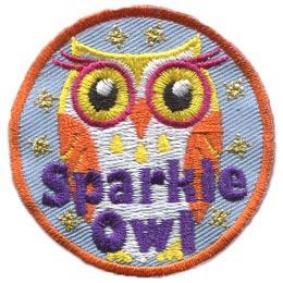 Sparkle, Owl, Set, Metallic, Who, Hoot, Leader, Patch, Embroidered Patch, Merit Badge, Badge, Emblem, Iron On, Iron-On, Crest, Lapel Pin, Insignia, Girl Scouts, Boy Scouts, Girl Guides