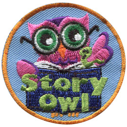 This bespectacled owl turns a page in the book she is reading. The words 'Story Owl' are written at the bottom of this round patch.
