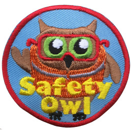 An owl wears an orange safety vest and safety glasses. The text, 'Safety Owl' is embroidered near the bottom of this circular patch.