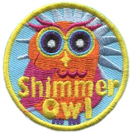 Shimmer, Owl, Set, Leader, Who, Hoot, Patch, Embroidered Patch, Merit Badge, Badge, Emblem, Iron-On, Iron On, Crest, Lapel Pin, Insignia, Girl Scouts, Boy Scouts, Girl Guides