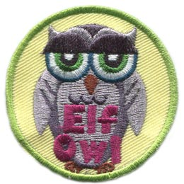 Elf, Owl, Set, Leader, Who, Hoot, Patch, Embroidered Patch, Merit Badge, Badge, Emblem, Iron-On, Crest, Lapel Pin, Insignia, Girl Scouts, Boy Scouts, Girl Guides