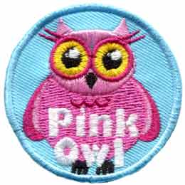 Pink,  Owl, Set, Leader, Who, Hoot, Patch, Embroidered Patch, Merit Badge, Badge, Emblem, Iron-On, Iron On, Crest, Lapel Pin, Insignia, Girl Scouts, Boy Scouts, Girl Guides