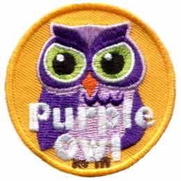 Purple,  Owl, Set, Leader, Who, Hoot, Patch, Embroidered Patch, Merit Badge, Badge, Emblem, Iron-On, Iron On, Crest, Lapel Pin, Insignia, Girl Scouts, Boy Scouts, Girl Guides