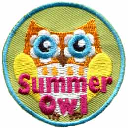 Summer,  Owl, Set, Leader, Who, Hoot, Patch, Embroidered Patch, Merit Badge, Badge, Emblem, Iron-On, Iron On, Crest, Lapel Pin, Insignia, Girl Scouts, Boy Scouts, Girl Guides
