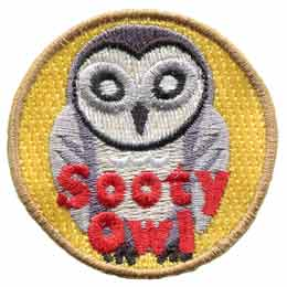 Sooty,  Owl, Set, Leader, Who, Hoot, Patch, Embroidered Patch, Merit Badge, Badge, Emblem, Iron-On, Iron On, Crest, Lapel Pin, Insignia, Girl Scouts, Boy Scouts, Girl Guides