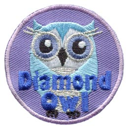 Diamond, Owl, Set, Leader, Who, Hoot, Patch, Embroidered Patch, Merit Badge, Badge, Emblem, Iron-On, Iron On, Crest, Lapel Pin, Insignia, Girl Scouts, Boy Scouts, Girl Guides