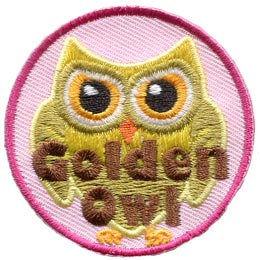 Golden, Owl, Set, Leader, Who, Hoot, Patch, Embroidered Patch, Merit Badge, Badge, Emblem, Iron-On, Iron On, Crest, Lapel Pin, Insignia, Girl Scouts, Boy Scouts, Girl Guides