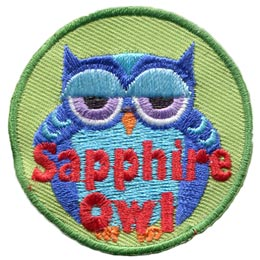 Sapphire, Owl, Set, Leader, Who, Hoot, Patch, Embroidered Patch, Merit Badge, Badge, Emblem, Iron-On, Iron On, Crest, Lapel Pin, Insignia, Girl Scouts, Boy Scouts, Girl Guides