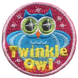 Twinkle, Owl, Set, Leader, Who, Hoot, Bird, Patch, Embroidered Patch, Merit Badge, Badge, Emblem, Iron-On, Crest, Lapel Pin, Insignia, Girl Scouts, Boy Scouts, Girl Guides