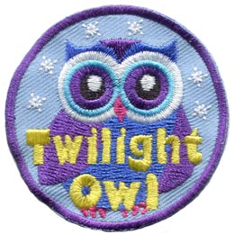 Twilight, Owl, Set, Leader, Who, Hoot, Bird, Patch, Embroidered Patch, Merit Badge, Badge, Emblem, Iron-On, Crest, Lapel Pin, Insignia, Girl Scouts, Boy Scouts, Girl Guides