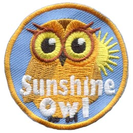 Sun, Shine, Owl, Set, Leader, Who, Hoot, Bird, Patch, Embroidered Patch, Merit Badge, Badge, Emblem, Iron-On, Crest, Lapel Pin, Insignia, Girl Scouts, Boy Scouts, Girl Guides