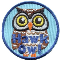 Hawk, Owl, Set, Leader, Who, Hoot, Bird, Patch, Embroidered Patch, Merit Badge, Badge, Emblem, Iron-On, Crest, Lapel Pin, Insignia, Girl Scouts, Boy Scouts, Girl Guides