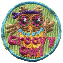 Groovy, Hippy, Owl, Set, Leader, Who, Hoot, Bird, Patch, Embroidered Patch, Merit Badge, Badge, Emblem, Iron-On, Crest, Lapel Pin, Insignia, Girl Scouts, Boy Scouts, Girl Guides
