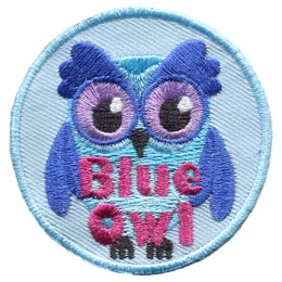 Blue, Owl, Set, Leader, Who, Hoot, Bird, Patch, Embroidered Patch, Merit Badge, Badge, Emblem, Iron-On, Crest, Lapel Pin, Insignia, Girl Scouts, Boy Scouts, Girl Guides