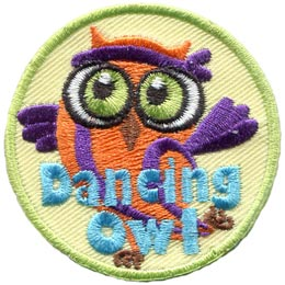 Dancing, Owl, Exercise, Aerobic, Set, Leader, Who, Hoot, Bird, Patch, Embroidered Patch, Merit Badge, Badge, Emblem, Iron-On, Crest, Lapel Pin, Insignia, Girl Scouts, Boy Scouts, Girl Guides