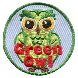 Green, Colour, Owl, Set, Leader, Who, Hoot, Bird, Patch, Embroidered Patch, Merit Badge, Badge, Emblem, Iron-On, Crest, Lapel Pin, Insignia, Girl Scouts, Boy Scouts, Girl Guides
