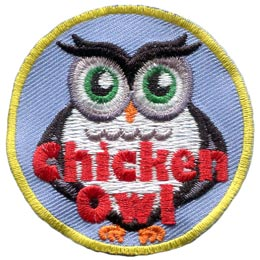 Chicken, Coward, Bird, Fowl, Owl, Set, Leader, Who, Hoot, Bird, Patch, Embroidered Patch, Merit Badge, Badge, Emblem, Iron-On, Crest, Lapel Pin, Insignia, Girl Scouts, Boy Scouts, Girl Guides
