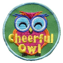 Cheerful, Happy, Owl, Set, Leader, Who, Hoot, Bird, Patch, Embroidered Patch, Merit Badge, Badge, Emblem, Iron-On, Crest, Lapel Pin, Insignia, Girl Scouts, Boy Scouts, Girl Guides