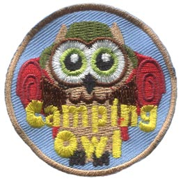 Camping, Tent, Fire, Backpack, Owl, Set, Leader, Who, Hoot, Patch, Embroidered Patch, Merit Badge, Badge, Emblem, Iron-On, Iron On, Crest, Lapel Pin, Insignia, Girl Scouts, Boy Scouts, Girl Guides