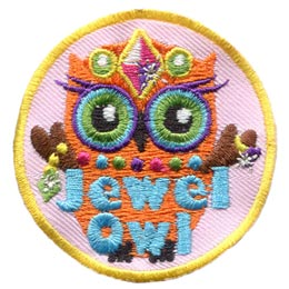 Jewel, Gem, Princess, Crown, Metallic, Owl, Set, Leader, Who, Hoot, Patch, Embroidered Patch, Merit Badge, Badge, Emblem, Iron-On, Iron On, Crest, Lapel Pin, Insignia, Girl Scouts, Boy Scouts, Girl Guides