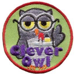 Clever, Smart, Cunning, Wise, Owl, Set, Leader, Who, Hoot, Patch, Embroidered Patch, Merit Badge, Badge, Emblem, Iron-On, Iron On, Crest, Lapel Pin, Insignia, Girl Scouts, Boy Scouts, Girl Guides