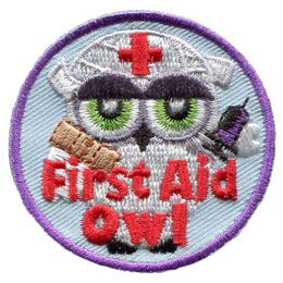 First, Aid, Bandage, Needle, Nurse, Owl, Leader, Who, Hoot, Patch, Embroidered Patch, Merit Badge, Badge, Emblem, Iron-On, Iron On, Crest, Lapel Pin, Insignia, Girl Scouts, Boy Scouts, Girl Guides
