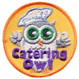 Catering, Owl, Food, Event, Chef, Leader, Who, Patch, Embroidered Patch, Merit Badge, Badge, Emblem, Iron On, Iron-On, Crest, Lapel Pin, Insignia, Girl Scouts, Boy Scouts, Girl Guides