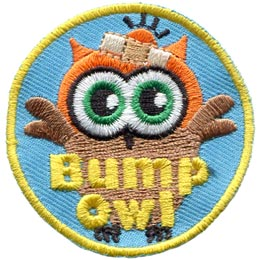 Bump, Bandaid, Band-Aid, Accident, Clumsy, Owl, Leader, Who, Patch, Embroidered Patch, Merit Badge, Badge, Emblem, Iron On, Iron-On, Crest, Lapel Pin, Insignia, Girl Scouts, Boy Scouts, Girl Guides