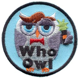 A suave owl is looking good with his slicked brown hair, red bow-tie, and magical screwdriver. The words ''Who Owl'' are embroidered in black.