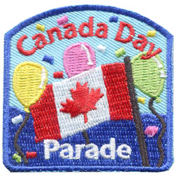Canada, Dominion, Day, Parade, Flag, Maple, Leaf, Balloon, Patch, Embroidered Patch, Merit Badge, Badge, Emblem, Iron On, Iron-On, Crest, Lapel Pin, Insignia, Girl Scouts, Boy Scouts, Girl Guides