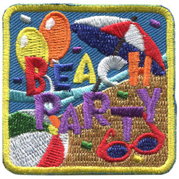 This square patch showcases a beach party. The background is half water and half beach, split diagonally from the top right corner down to the bottom left, with the sandy beach on the right of the split. On the beach is a beach umbrella, sun glasses and a beach ball. Over the ocean are two balloons. Confetti is scattered around the badge. Right in the center are the words 'Beach Party.'