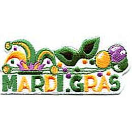 Mardi Gras, Mardigras, Mask, New Orleans, Bourbon Street, Patch, Embroidered Patch, Merit Badge, Badge, Emblem, Iron On, Iron-On, Crest, Lapel Pin, Insignia, Girl Scouts, Boy Scouts, Girl Guides