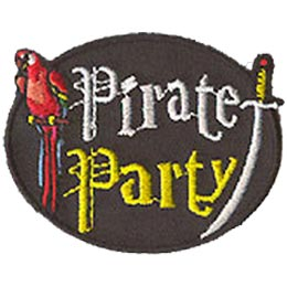 Pirate Party, Parrot, Sword, Pirate, Patch, Embroidered Patch, Merit Badge, Crest, Girl Scouts, Boy Scouts, Girl Guides