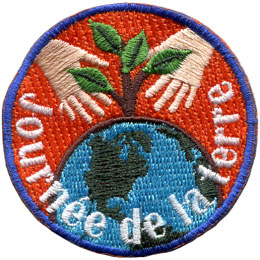 Ecussons, Francais, hands, plant, earth, Embroidered Patch, Merit Badge, Badge, Emblem, Iron On, Iron-On, Crest, Lapel Pin, Insignia, Girl Scouts, Boy Scouts, Girl Guides