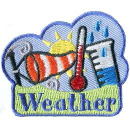 Weather, Thermometer, Wind, Sock, Rain, Sun, Patch, Embroidered Patch, Merit Badge, Badge, Emblem, Iron On, Iron-On, Crest, Lapel Pin, Insignia, Girl Scouts, Boy Scouts, Girl Guides